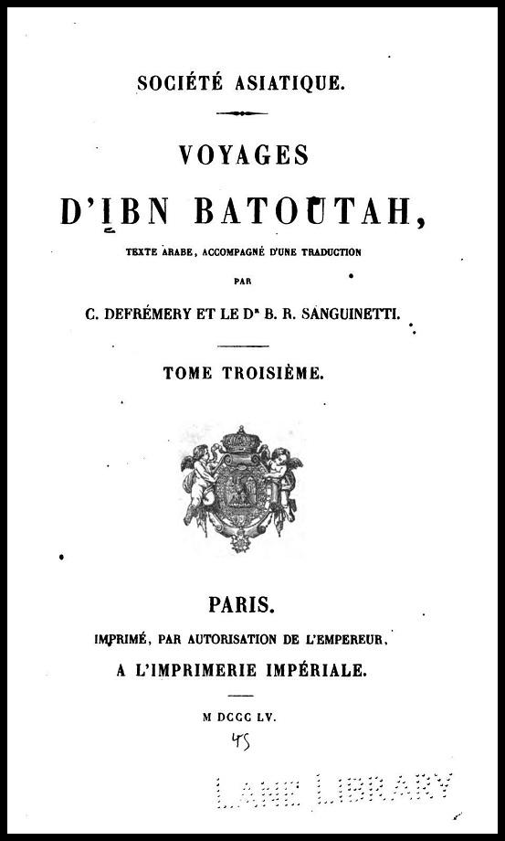 Voyages d'Ibn Batoutah. Tome III (1855)