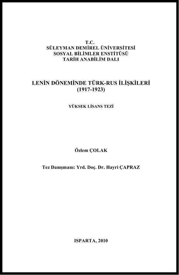 Özlem Çolak. Lenin Döneminde Türk-Rus İlişkileri, 1917-1923 (2010)