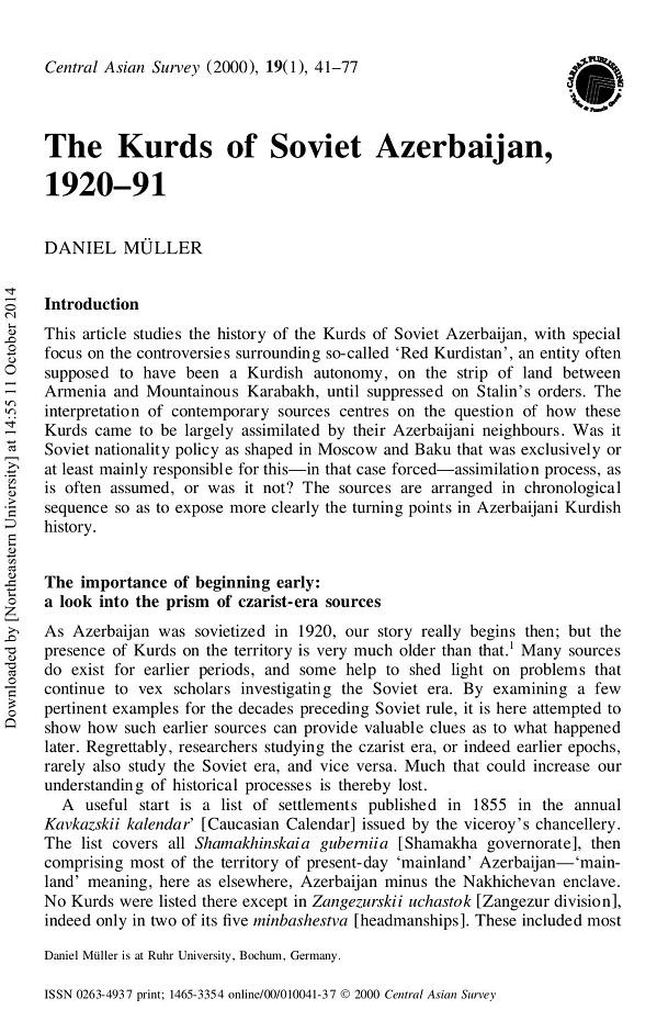 Daniel Müller. The Kurds of Soviet Azerbaijan, 1920–91 (2000)