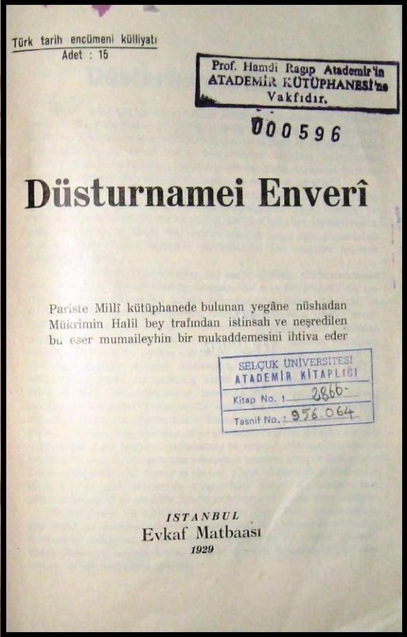 Düsturnamei Enverî: Medhal (1930)