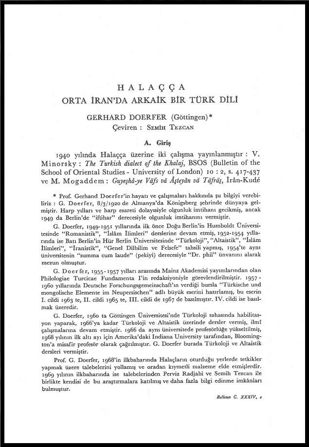 Gerhard Dorfer. Halaçça: Orta İran'da Arkaik Bir Türk Dili (1970)