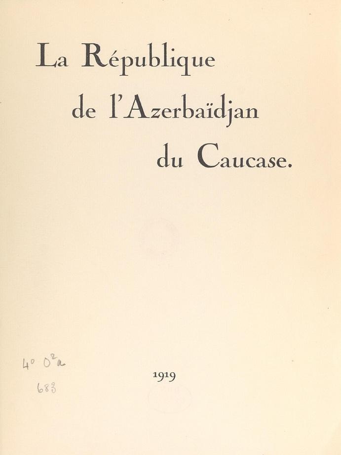 La république de l'Azerbaïdjan du Caucase (1919)