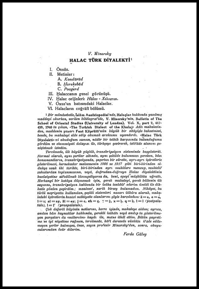 Vladimir Minorsky. Halaç Türk Diyalekti (1950)