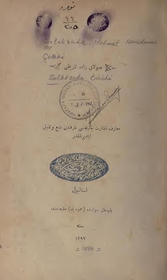 Solakzade Mehmed Hemdemî. Solakzâde târihi (1880)